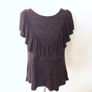 Rbx dark burgundy gray top large